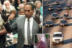 OJ SIMPSON COURT TRYING ON THE INFAMOUS GLOVES, AND CRIME SCENE PHOTO OF HORRIFIC MURDER.