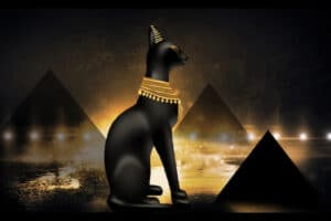 Ancient Egyptian Cat Adorned with Jewelry